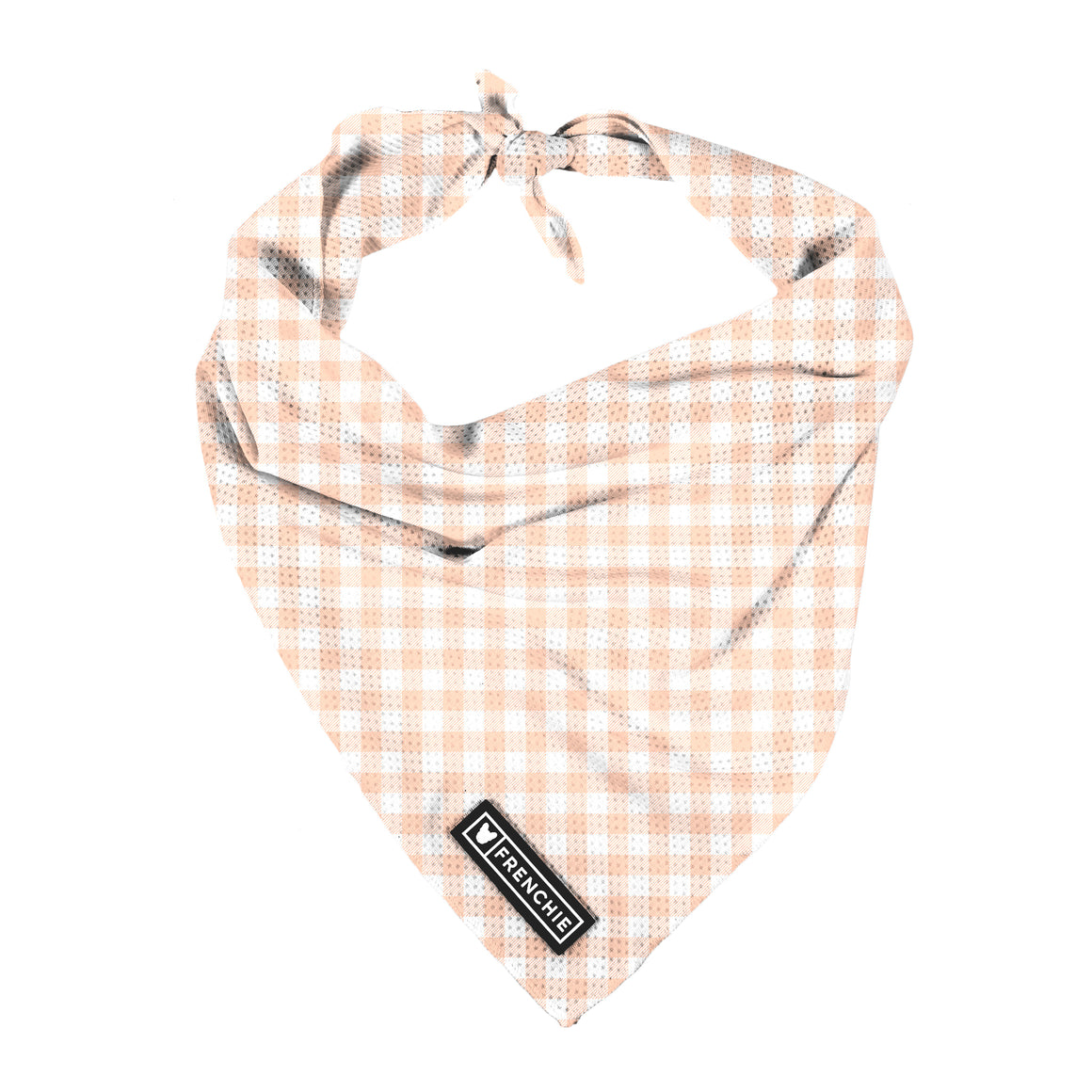 Frenchie Cooling Bandana- Peach Gingham - Frenchie Bulldog - Shop Harnesses for French Bulldogs - Shop French Bulldog Harness - Harnesses for Pugs