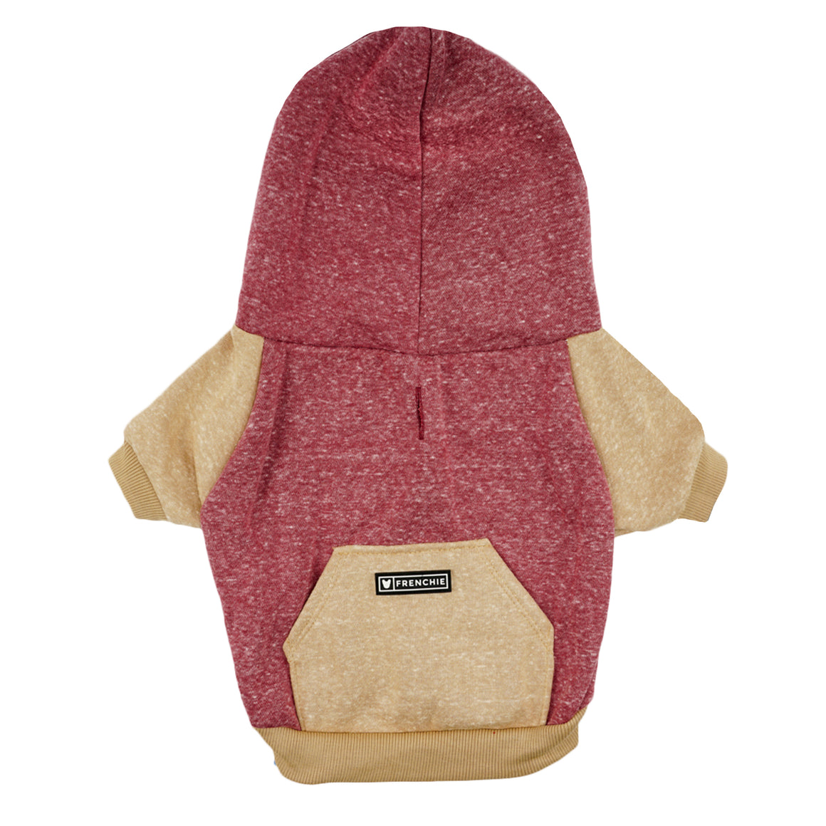 Frenchie Dog Hoodie - MAROON AND TAN
