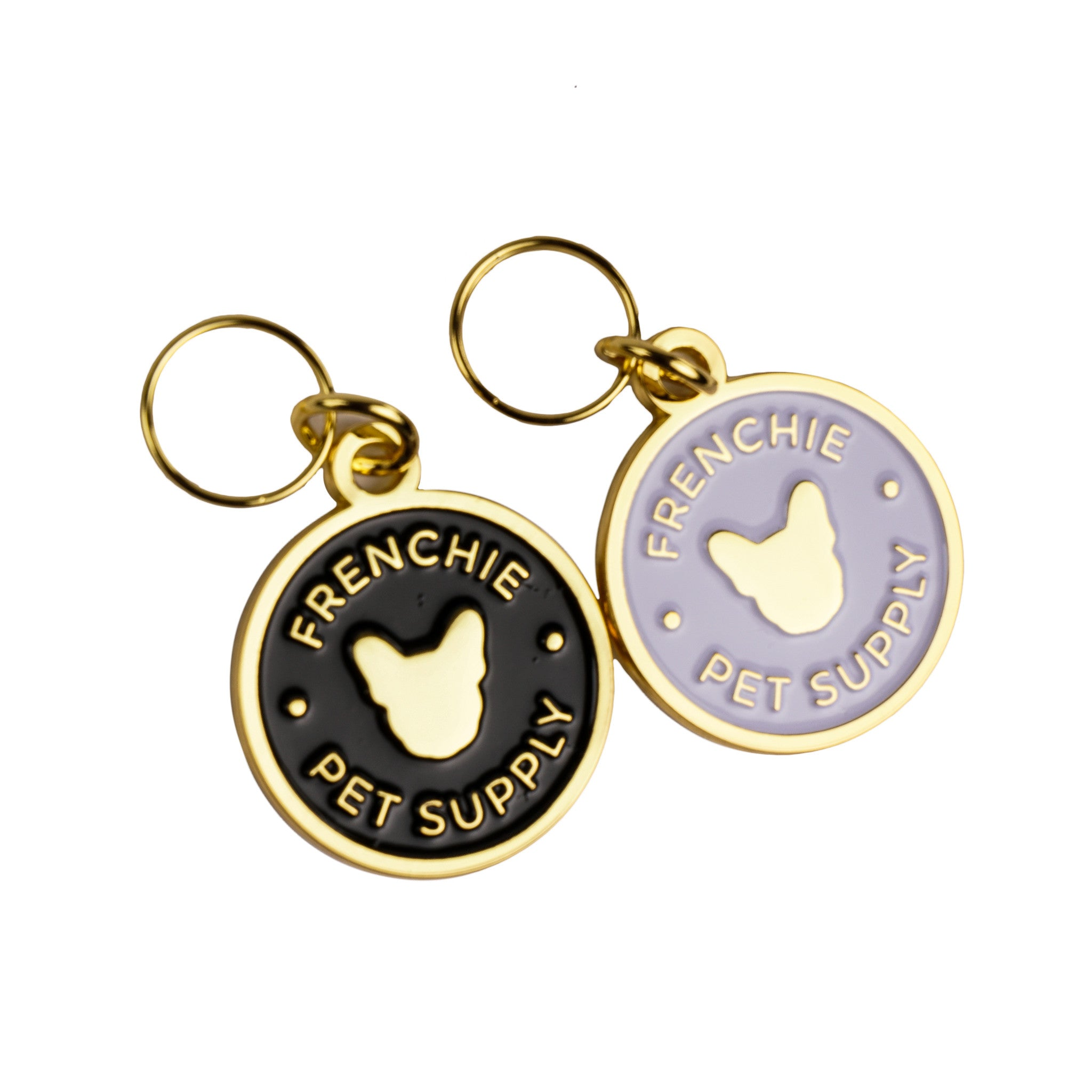 gold logo frenchie enamel products id black bulldog tag white