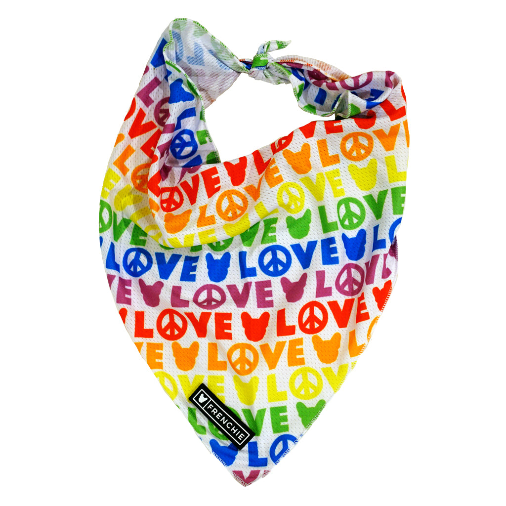 Frenchie Cooling Bandana- Peace, Love, Frenchie - Frenchie Bulldog - Shop Harnesses for French Bulldogs - Shop French Bulldog Harness - Harnesses for Pugs