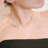Wasson Fine 14k Gold Link and Chain Collar with White Sapphire / Shop Super Street - 3