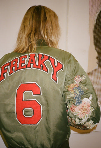 Red Freaky Embroidered Sleeve Bomber