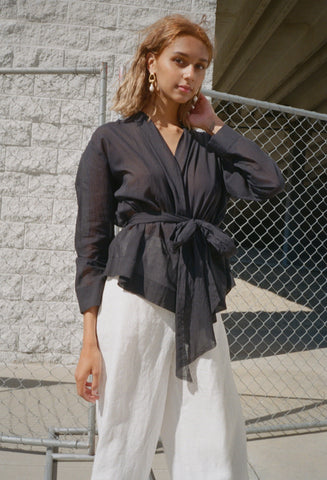 Wrap Shirt Black Voile