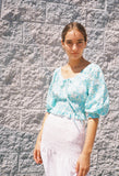 Helena Smocked Crop Top Blue Green