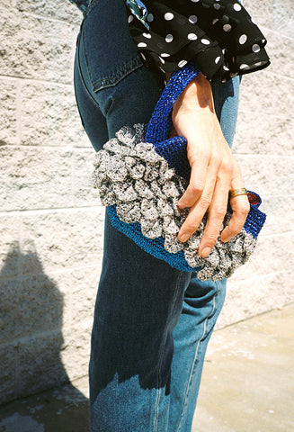 Wave Clutch Silver/Blue