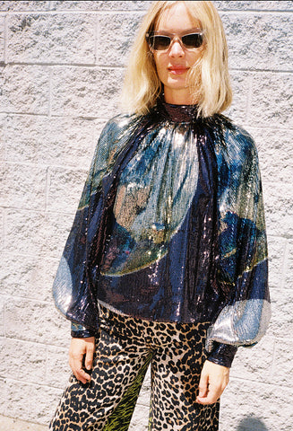 Sequined High Neck Blouse