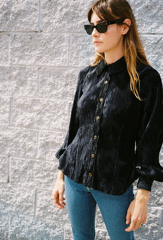 Pleated Satin Blouse