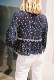 Lowell Polka Dot Blouse Navy