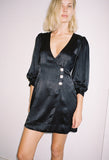 Satin Mini Dress Black