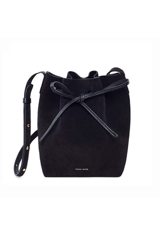 Mansur Gavriel Mini Black Suede Bucket Bag / Shop Super Street - 1