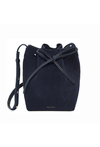 Mansur Gavriel Mini Blu Suede Bucket Bag / Shop Super Street - 1