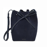 Mansur Gavriel Mini Blu Suede Bucket Bag / Shop Super Street - 3