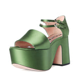 Rochas Block Satin Green Platform / Shop Super Street - 4