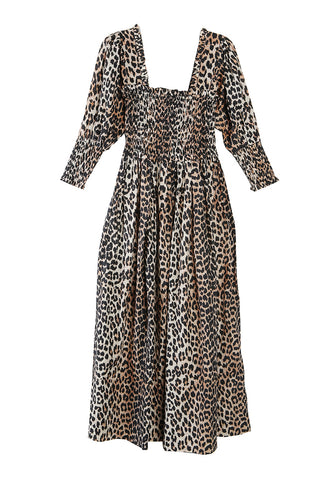 Cotton Silk Maxi Dress Leopard