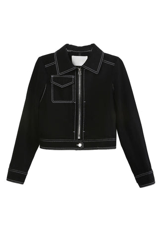 Cropped Zip Up Black Jacket