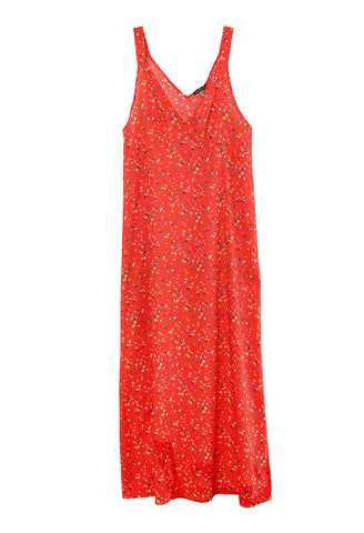 Long Slip Red Floral