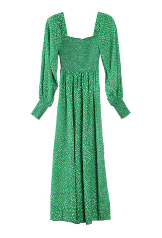 Marianne Smocked Dress Micro Floral Green