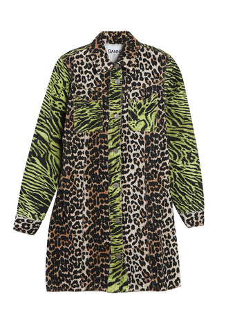 Denim Dress Leopard/Lime