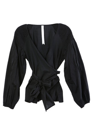 Joseph Hand Smocked Wrap Blouse Black