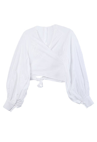 Spritz Cropped Wrap Blouse
