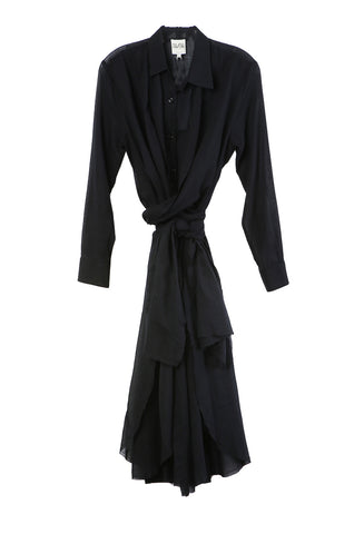 Shirt Dress Black Voile
