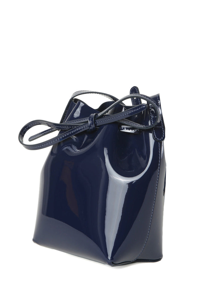 Mansur Gavriel Mini Mini Blu Patent Bucket Bag   Shop Super Street