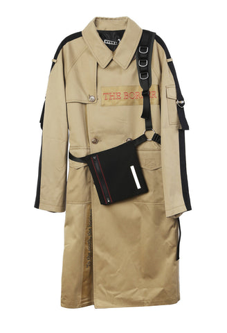 Embroidered Trench Coat with Shoulder Strap
