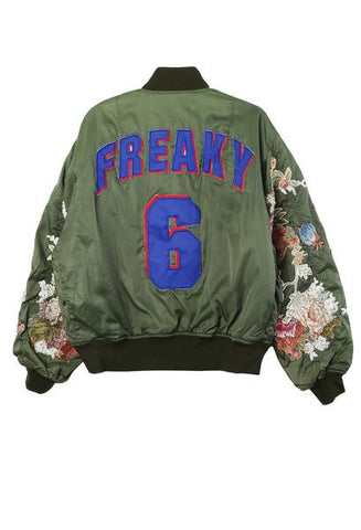 Blue Freaky Embroidered Sleeve Bomber