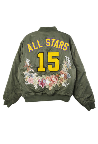 All Stars Floral Needlepoint Bomber
