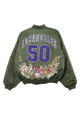 Los Angeles Floral Needlepoint Bomber