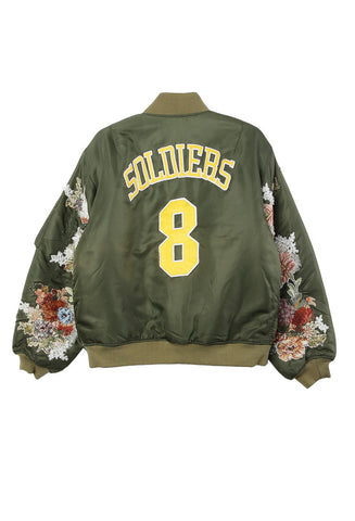 Soldiers Floral Embroidered Sleeve Bomber