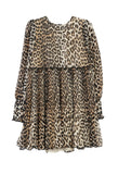 Pleated Georgette Leopard Mini Dress