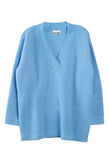 Oversized V Neck Sweater Azure Blue
