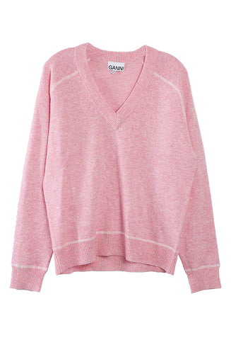 V Neck Sweater Candy Pink