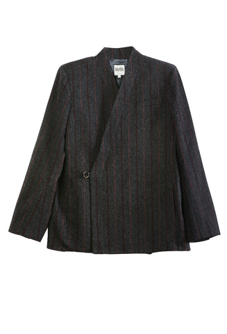 Bathrobe Jacket Grey/Bordeaux Stripe