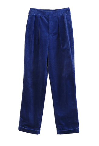 Straight Pants Blue Corduroy