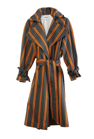 Trench Coat Striped Cotton Canvas