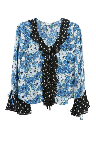 Fearne Floral and Polka Dot Top Blue and Moni Spot