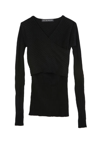 Micro Rib Crossback Knit Black