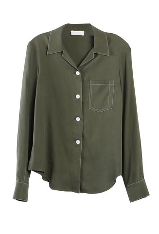 Long Sleeve Bowling Shirt Olive