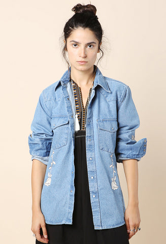 Bliss and Mischief Embroidered Denim Shirt / Shop Super Street - 1