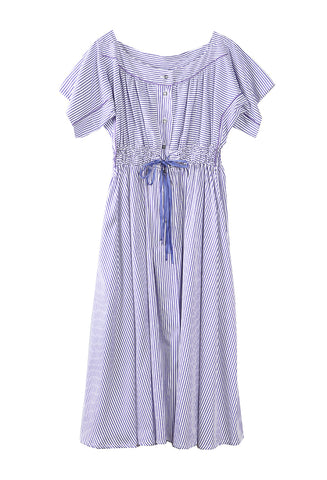 Tania Boat Neck Dress Cricket Stripe Purple