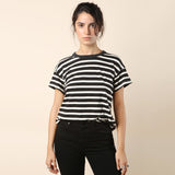 The Great The Boxy Crew Black and White Stripe / Shop Super Street - 3