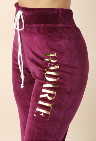 Rodarte Burgundy Velour Sweatpant / Shop Super Street - 1
