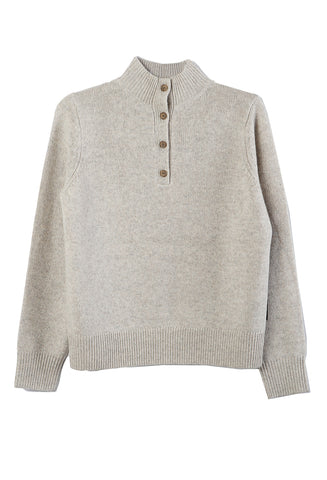 Marl Button Mockneck