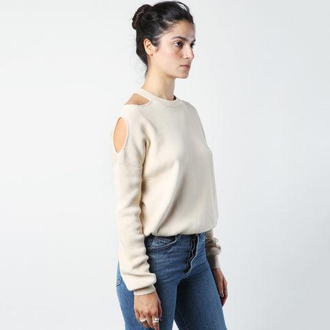 Nomia Cut Out Shoulder Crewneck Ecru / Shop Super Street - 1