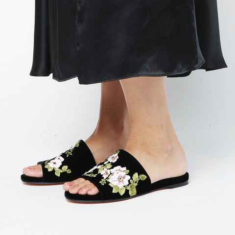 Rochas Embroidered Floral Slide / Shop Super Street - 1