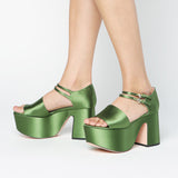 Rochas Block Satin Green Platform / Shop Super Street - 2