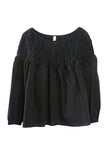 Songes Smocked Yoke Blouse Black