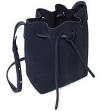 Mansur Gavriel Mini Blu Suede Bucket Bag / Shop Super Street - 4